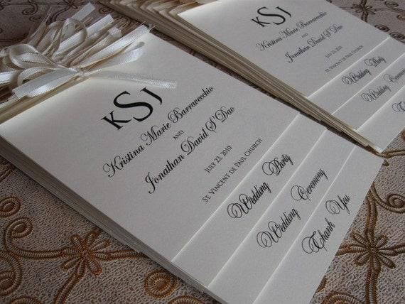 items similar to layered monogram wedding ceremony programs