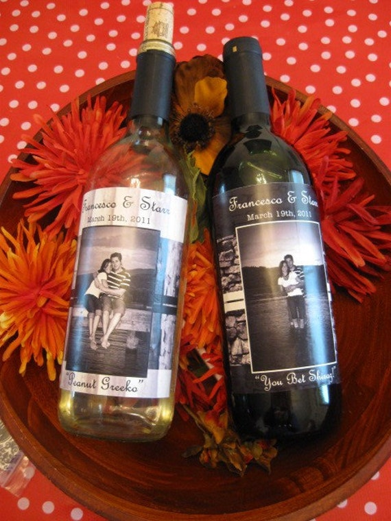 Wine Bottle Labels - Custom Design and Printing with photograph- weatherproof vinyl stickers