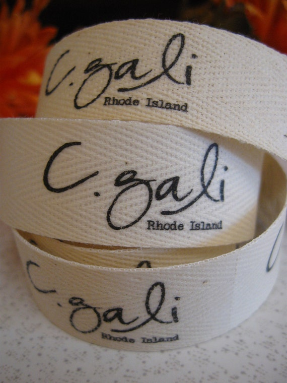 Twill Fabric Labels, three-quarter inch ribbon, spool - uncut, natural or white