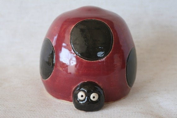 Lady Bug Coin Piggy Bank in Red & Black Hand Made