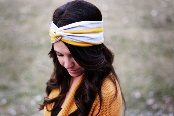 Yellow Stripes - Turban Style headband