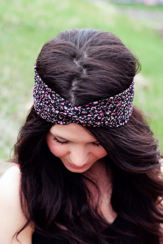 Flower Patch - Black and Pink Floral Turban