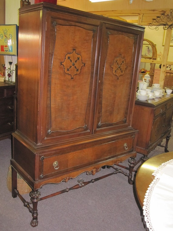 Items Similar To Antique Hutch On Stand By The Lammert Furniture Company St Louis Mo On Etsy