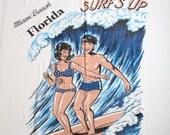 Vintage 60s Surfer Print Terry Beach Towel