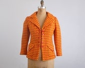 Vintage 60s 70s Yellow & Orange Houndstooth Tweed Blazer