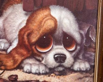 Vintage 60s 70s Pity Puppy Dog Print by Gig / Big Eye Print / Mid Century Modern
