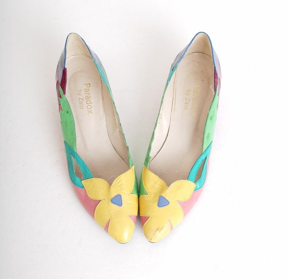 9 1/2 Vintage 80s Pointy Leather Flower Flats 39.5 40