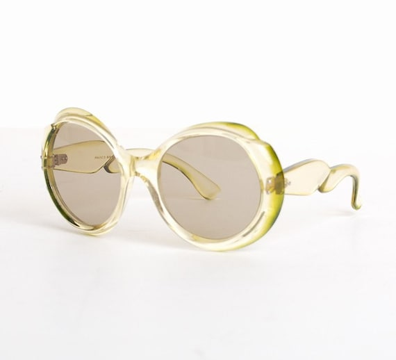 Vintage 60s French Round Pale Green Sunglasses Shades