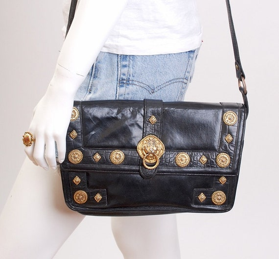 Vintage 80s Black Leather Lion Shoulder Bag