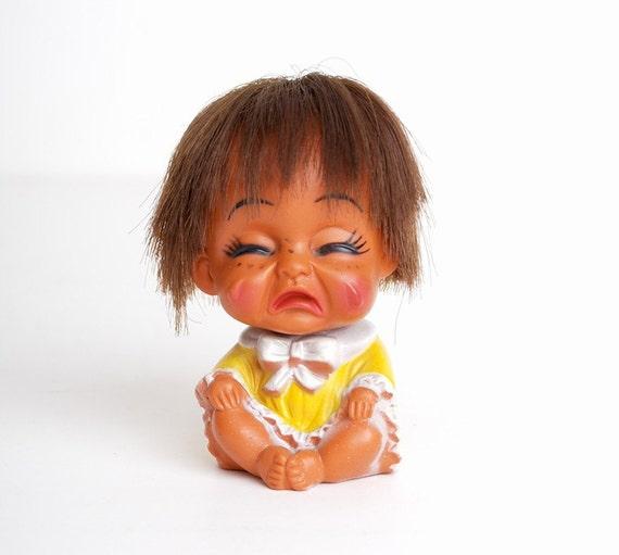 Vintage MOD 60s Crying Sad Face Vinyl Baby Doll Figure