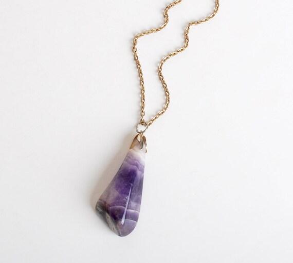 Vintage 70s Amethyst Gemstone Rock Pendant Necklace