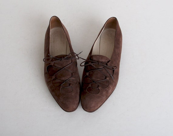 Size 9 Vintage 90s Brown Suede Lace Up Oxfords 40
