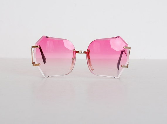 Vintage 70s Pink & Gold Oversized Sunglasses Shades
