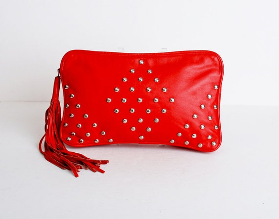 Vintage 80s Red Leather Studded Tassel Clutch Purse