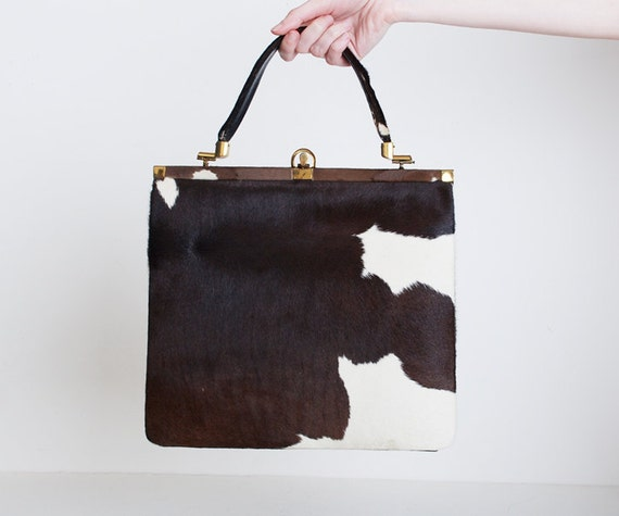 Vintage 60s Brown & White Pony Fur Handbag Satchel