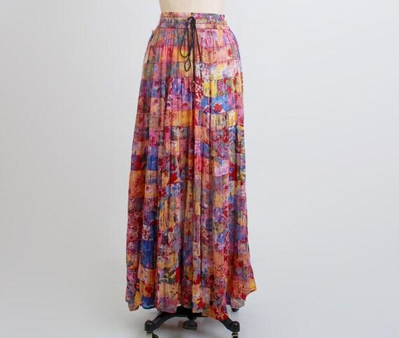 Vintage 90s Grunge Floral Patchwork Gauze Long Skirt