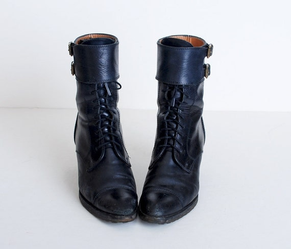 Size 8 AA Vintage 80s Black Leather Lace Up Ralph Lauren Boots 38