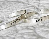 Baby bracelet - Cuff bracelet - Double sided - Solid Sterling silver cuff bracelet