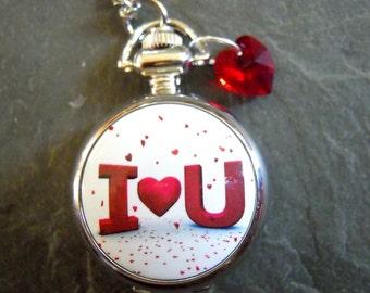 I Heart U Pocketwatch, small with Floating Tiny Red Hearts and a Swarovski Heart