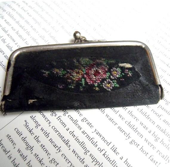 Vintage Tiny Leather and Needlepoint Manicure Set