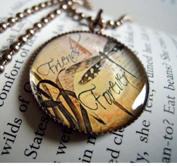 Bubble Pendant, Friends Forever in Copper with FAST SHIPPING