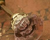 Antique pale lavender star burst glass door knob set brass