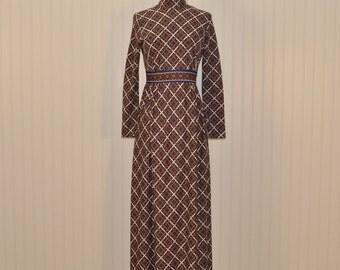 Vintage 1970 Maxi Dress Geo Print