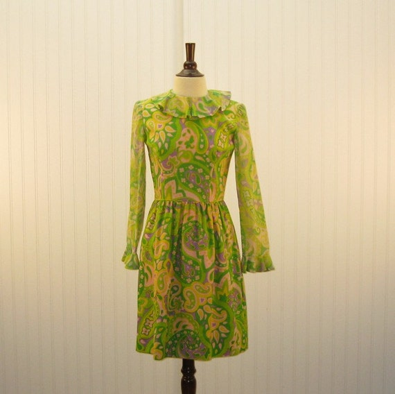 Vintage 1960 Dress Pucci-Like Like Mod Lime Green Yellow and Purple Mini Dress