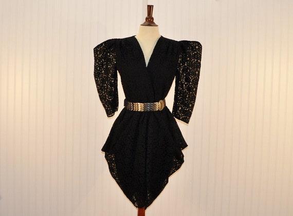 Vintage 1980 Black Lace Cocktail Party Formal Disco Little Black  Dress