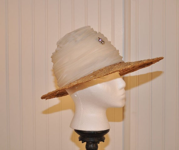 VINTAGE RARE  SCHIAPARELLI  PARIS Straw Hat With Chiffon and Rhinestone Adornment