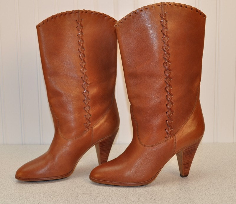 vintage nine west cinnamon colored leather calf high boots