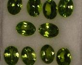 Perfect Peridot  10 Oval cut Stones