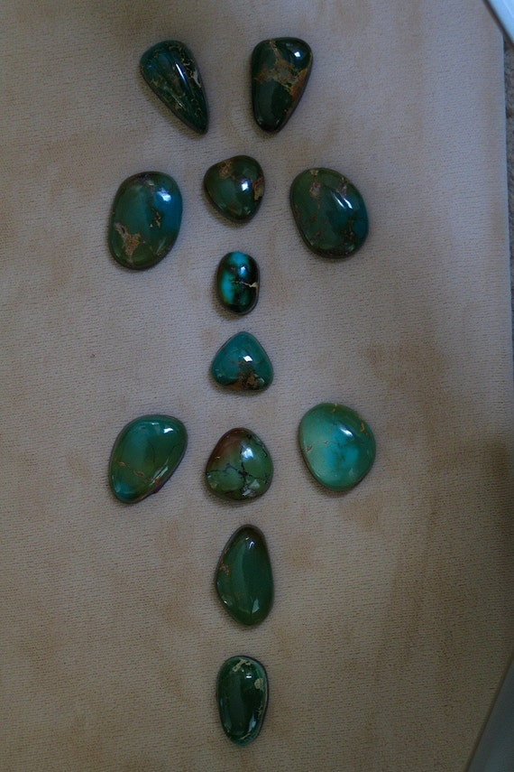 Natural Green-Blue Natural Royston Turquoise Cabochons