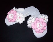 Cafe Crochet Designs Customized Flip Flops (Pink Ribbon for Breast Cancer) FREE SHIPPING