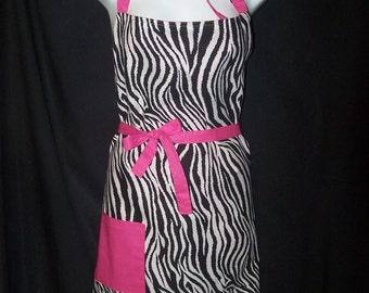 Zebra Print Butcher Style, Fully Lined Apron