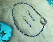 Retro Avon accent piece with Blue and White Crystal Necklace  Item 11-13