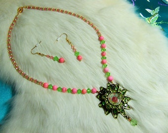 Pink Magnesite and Crystal  Necklace 11-07