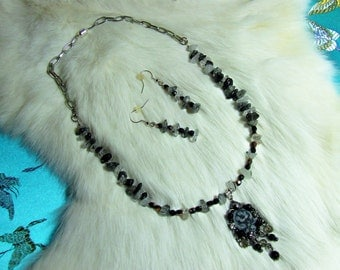 Black Onyx and Grey Needle Agate  09-04