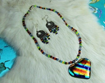 """Art Glass and Multi E Bead Necklace  """"Somewhere Within the Rainbow""""  Item 09-08"""