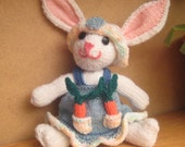 OOAK handknit Ellie the Rabbit with carrots and removable clothes- stuffed toy animal