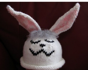 Hand knit Baby Easter Bunny beanie Hat
