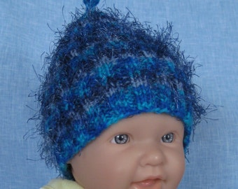 Handmade knit FUNKY baby beanie hat in multicolor blue