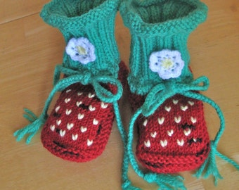 Hand knit Strawberry baby booties