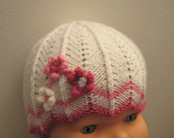 White Handmade knit baby hat with 3crocheted rosettes/flowers, sz0-6months