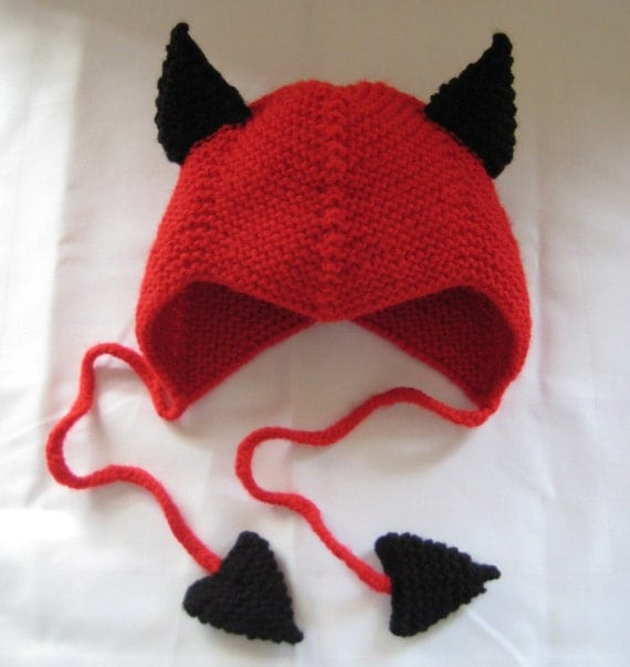 Halloween hand knit LITTLE IMP/ DEVIL bonnet/hat