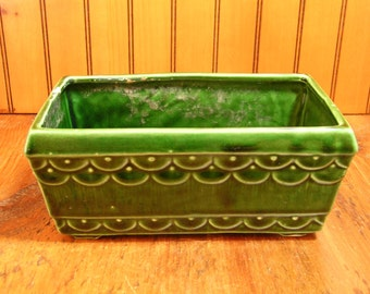 Vintage Green Stoneware Planter