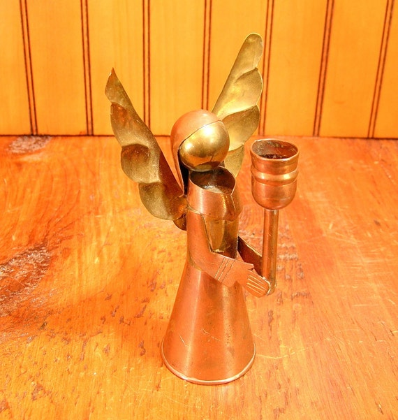 Vintage Mexican Copper And Brass Angel Candleholder