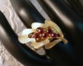 Vintage Upcycle Gold Leaf Red Rhinestone Adjustable Cocktail RIng