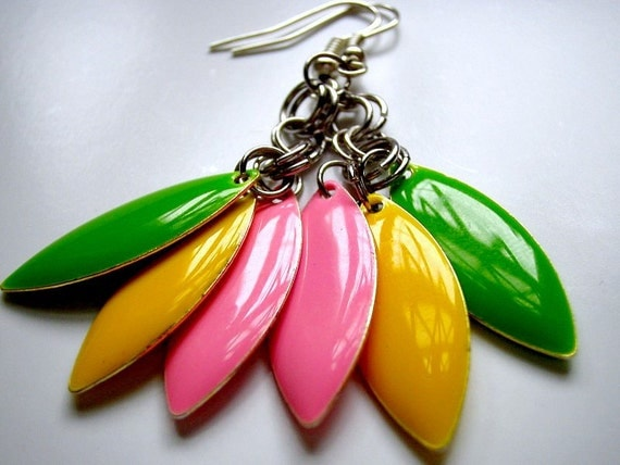 """Candy """"Everyday Lrg."""" Earrings - Pink, Yellow & Lime"""