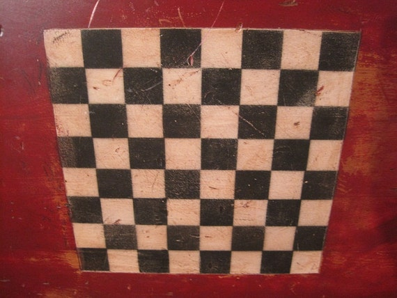 Handpainted Gameboard on Large Antique Munising Cutting Board